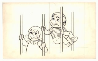 Cute Kids Behind Bars Illo  Comic Art