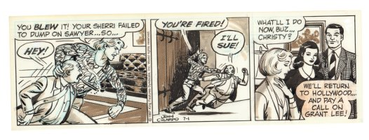 Buz Sawyer Daily Strip - You're Fired Fight - 7/1/1987 Signed Comic Art