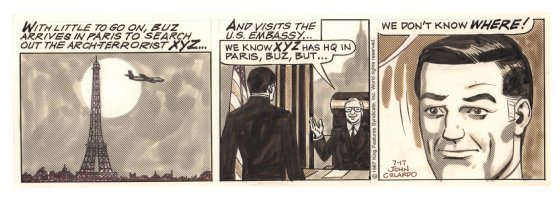 Buz Sawyer Daily Strip - Buz arrives in Paris to search for XYZ - 7/17/1987 Signed Comic Art