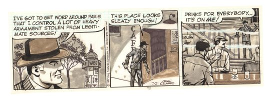 Buz Sawyer Daily Strip - Buz in a sleazy Paris bar - 7/21/1987 Signed Comic Art