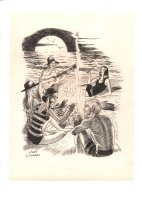 Beach Campfire Scene Illo - Signed Comic Art