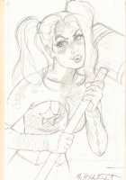 Harley Quinn Pencil Drawing - Signed Comic Art
