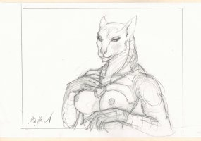 Female Egyptian Goddess Pencil Drawing - Signed Comic Art