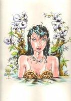 Beautiful Cave Woman Color LA Comic Art