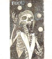 Skeleton Fool Tarot Card Art - Signed Comic Art