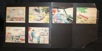 Family Traveling Commercial Storyboard with 6 Color Illos - LA - 1960's Comic Art
