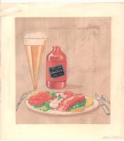 Beer and Lobster Dinner Color Art - Signed Comic Art