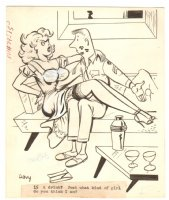 Adult Cartoon - ''15 a drink? Just what kind of girl do you think I am?'' - Signed Comic Art