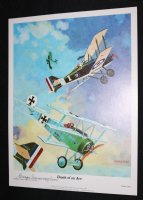 Death of an Ace WWI Dogfight Print - 1977 #1098 of 1500 Signed Comic Art