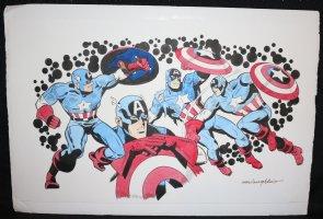 Captain America 4 Figure Color Commission - LA - Signed Comic Art