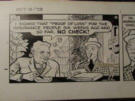 Dick Tracy Daily Cartoon Strip 10/9/73 Smelt & Pike 21x7  Comic Art