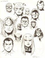 Avengers Vs. X-Men: Infinite #3 Digital Comic Page - Composite Portraits - 2012 Signed Comic Art