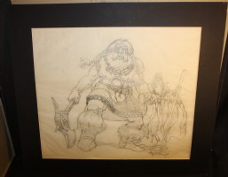 Gimli and Gandolf from Lord of the Rings Pencil Piece - LA - Double Signed Comic Art