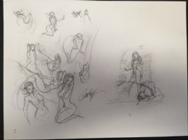 Super Sexy Babe Sketches - Goldilocks and Mermaids - Signed Comic Art